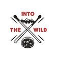 into wild - outdoors adventure badge vector image vector image