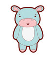 line color cute and happy hippopotamus wild animal vector image vector image