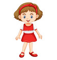little girl in red and white clothes vector image vector image
