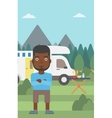 Man standing in front of motor home vector image vector image