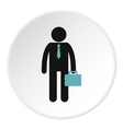 Man with briefcase icon flat style vector image