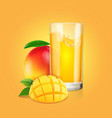 mango fruit a glass juice with slices vector image vector image