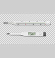 medical electrical and mercury thermometer on vector image