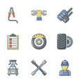mend icons set flat style vector image vector image