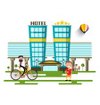 modern hotel buildings flat design city vector image vector image