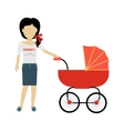 Mother with a Baby Carriage Banner vector image vector image