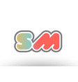 orange pastel blue alphabet letter sm s m logo vector image vector image