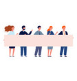 people with banner protest demonstration crowd vector image