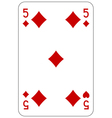Poker playing card 5 diamond vector image vector image