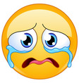 sad crying emoticon vector image vector image