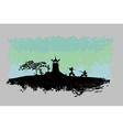 Samurai silhouette in Asian Landscape vector image vector image