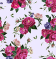 seamless floral pattern with roses and freesia vector image vector image