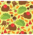 seamless pattern hedgehog in a forest clearing vector image vector image