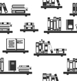 Seamless Pattern with Books on Bookshelves vector image vector image