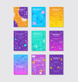 set of 9 abstract posters with geometric vector image