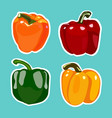 set of flat cartoon peppers stickers vector image vector image