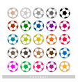 Set of Multi-colored Footballs or Soccer Balls vector image