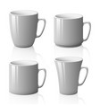 set of white cups isolated on white background vector image