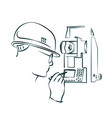 surveying and geodetic instrument silhouette vector image vector image