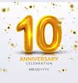 tenth anniversary birth celebration number vector image