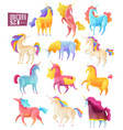unicorn colored set vector image vector image