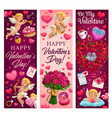 valentines day love holiday hearts cupids flower vector image vector image