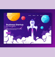 website landing home page with rocket business vector image vector image