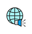world with megaphone social media news vector image vector image