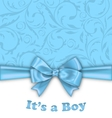 Boy Baby Shower Invitation Card with Blue Bow vector image