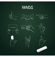 hand drawn hands with chalk on board vector image