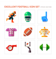 American Football flat icons vector image