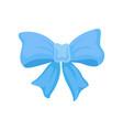 big bright blue bow made of satin ribbon cute vector image
