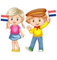 boy and girl holding flag of netherland vector image vector image