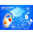 bright graduate cap and head phone on blue b vector image vector image