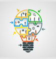 bulb idea of working with puzzles vector image vector image