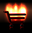 Burning shopping basket icon vector image vector image