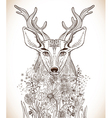 Cartoon background with deer and flowers vector image vector image
