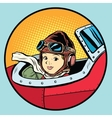 child pilot plane game dream aviation vector image