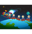 Children riding train in space vector image vector image