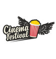cinema festival logo with popcorn and black wings vector image