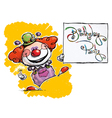 Clown Holding a Birthday Party Card vector image vector image