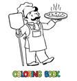 Coloring book of funny cook or chef with pizza vector image