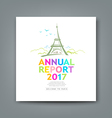 Cover new annual report colorful Eiffel tower vector image