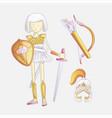cute cartoon girl warrior vector image