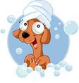 cute dog mascot taking a bath cartoon vector image