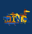 dinosaur typographic poster in geometric cartoon vector image vector image