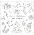 Doodle Christmas elements Vintage for vector image vector image