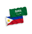 flags saudi arabia and philippines on a white