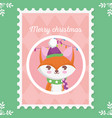 fox with hat and scarf lights merry christmas vector image vector image