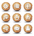 funny wood icons and buttons for ui game vector image vector image